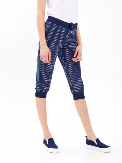 3/4 leg polka dot print sweatpants