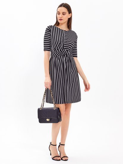 Striped dress with twist detail