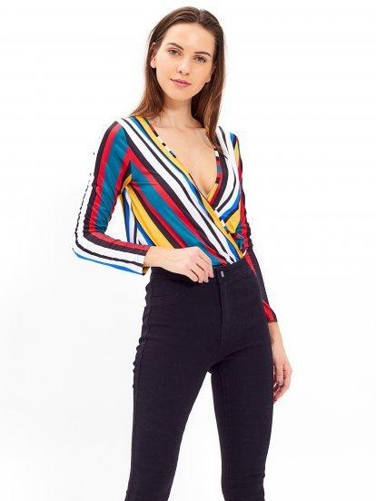 Wrap front striped bodysuit