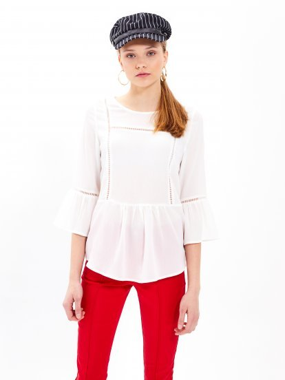 Peplum blouse with ruffle sleeve