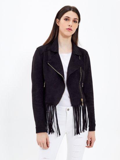 Motorkárska bunda z imitácie semišu so strapcami