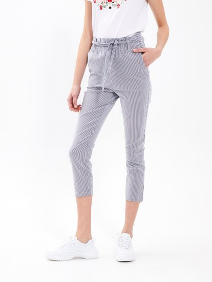Striped paper bag trousers