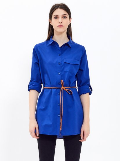 Longline shirt with belt