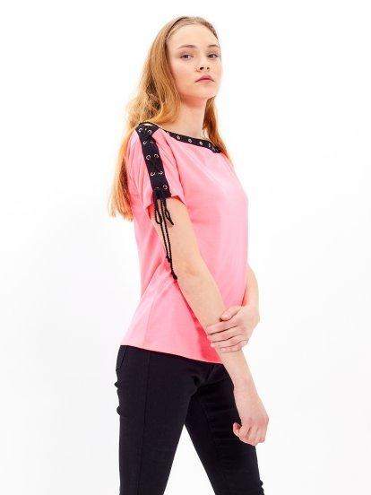 Lace-up cold shoulder top
