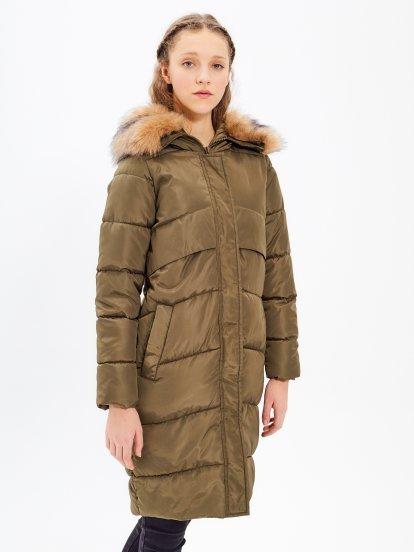 Longline padded jacket with eyelets on back