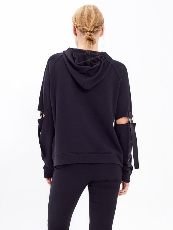 TAPED SWEATSHIRT WITH DISTRESSED SLEEVE