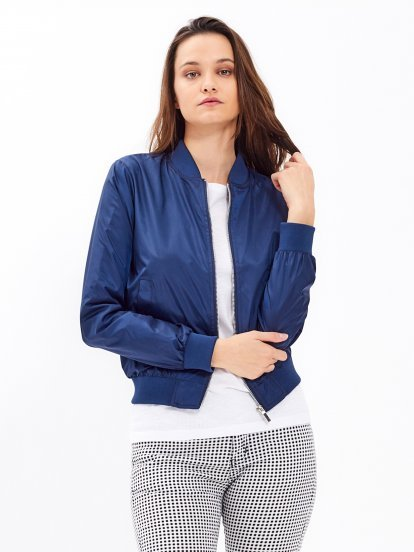 Bomber jacket with message print