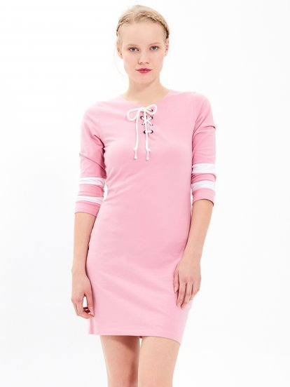 Lace-up dress with stripes on sleeves