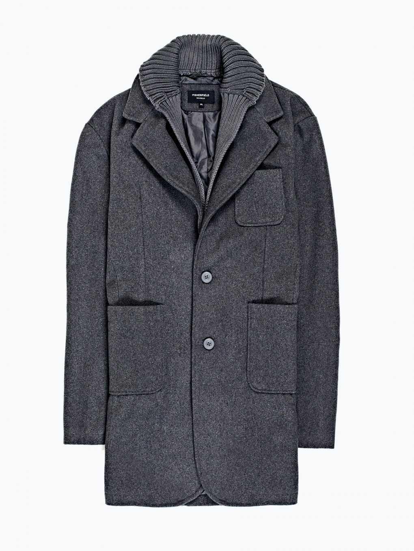 Combined prolonged coat in wool blend