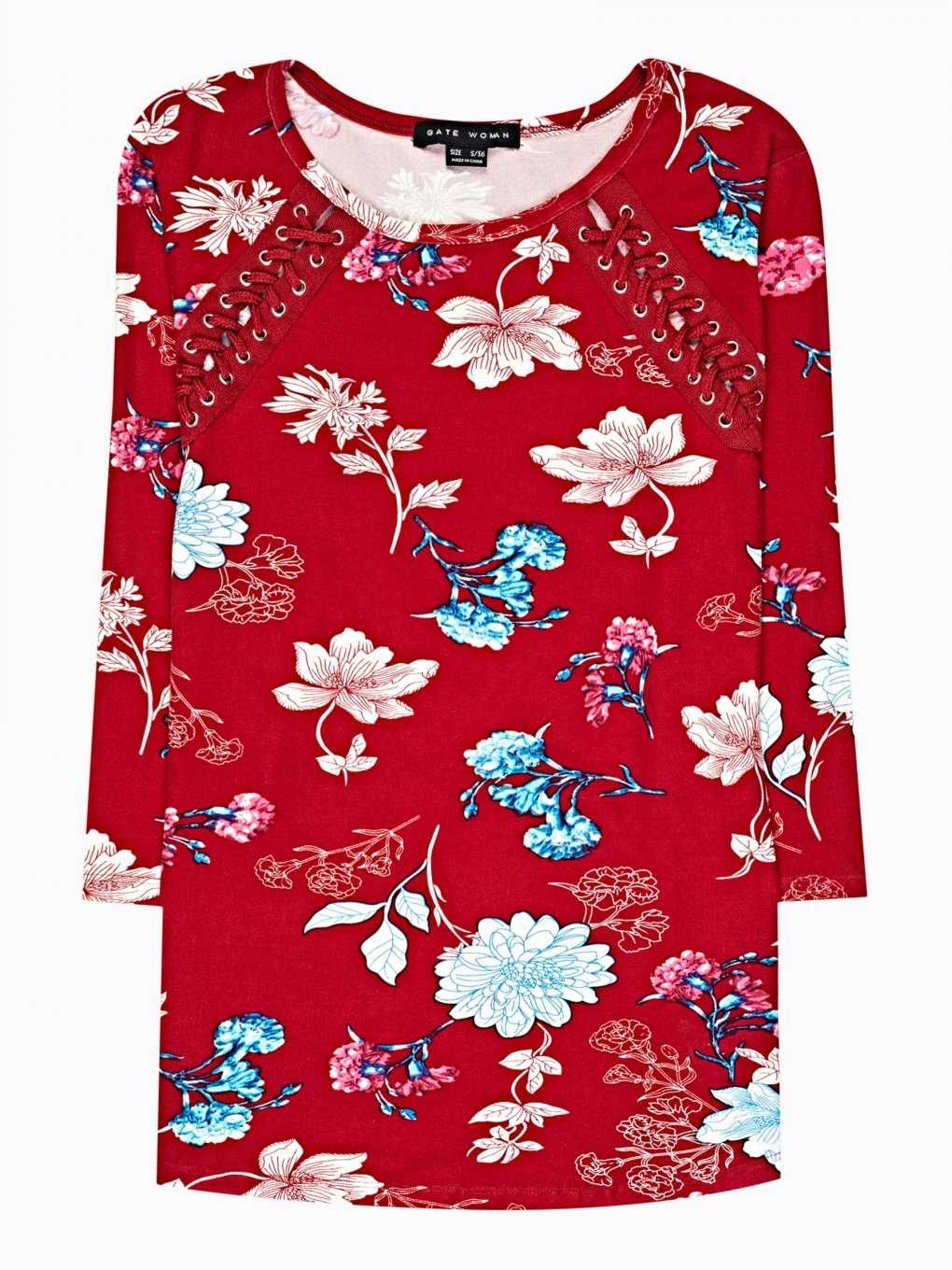 Floral print top with front lacing