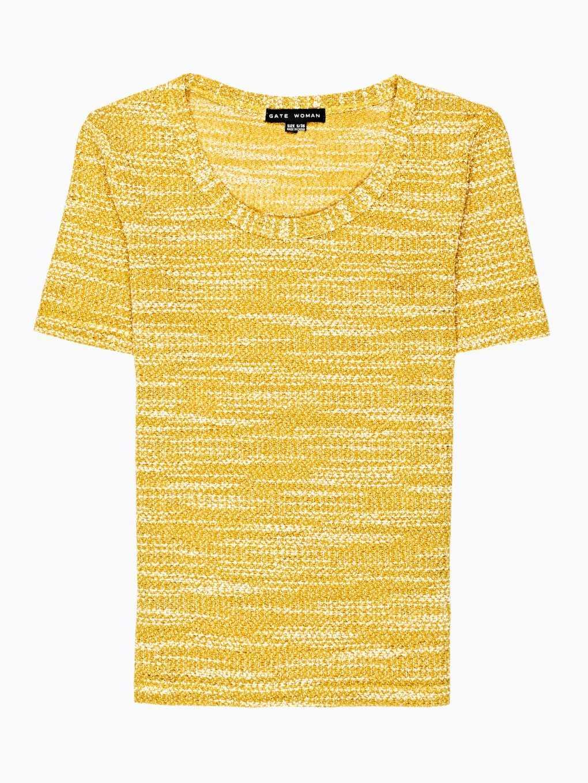Melanżowy sweter z krótkim rękawem