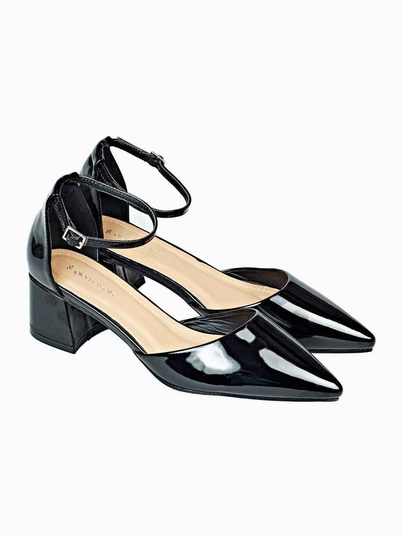 Lakované sandále na širokém podpatku