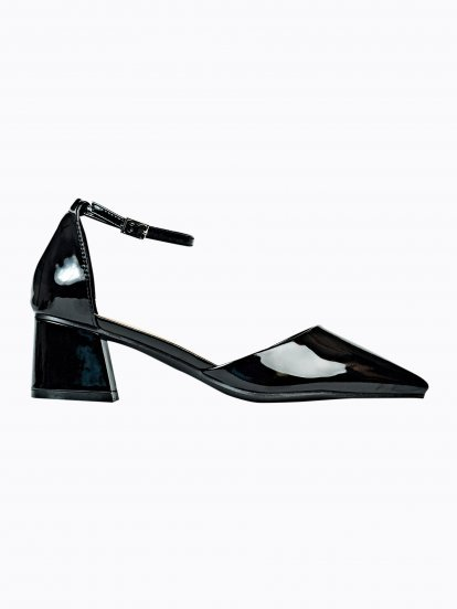 Faux patent mid heel sandals
