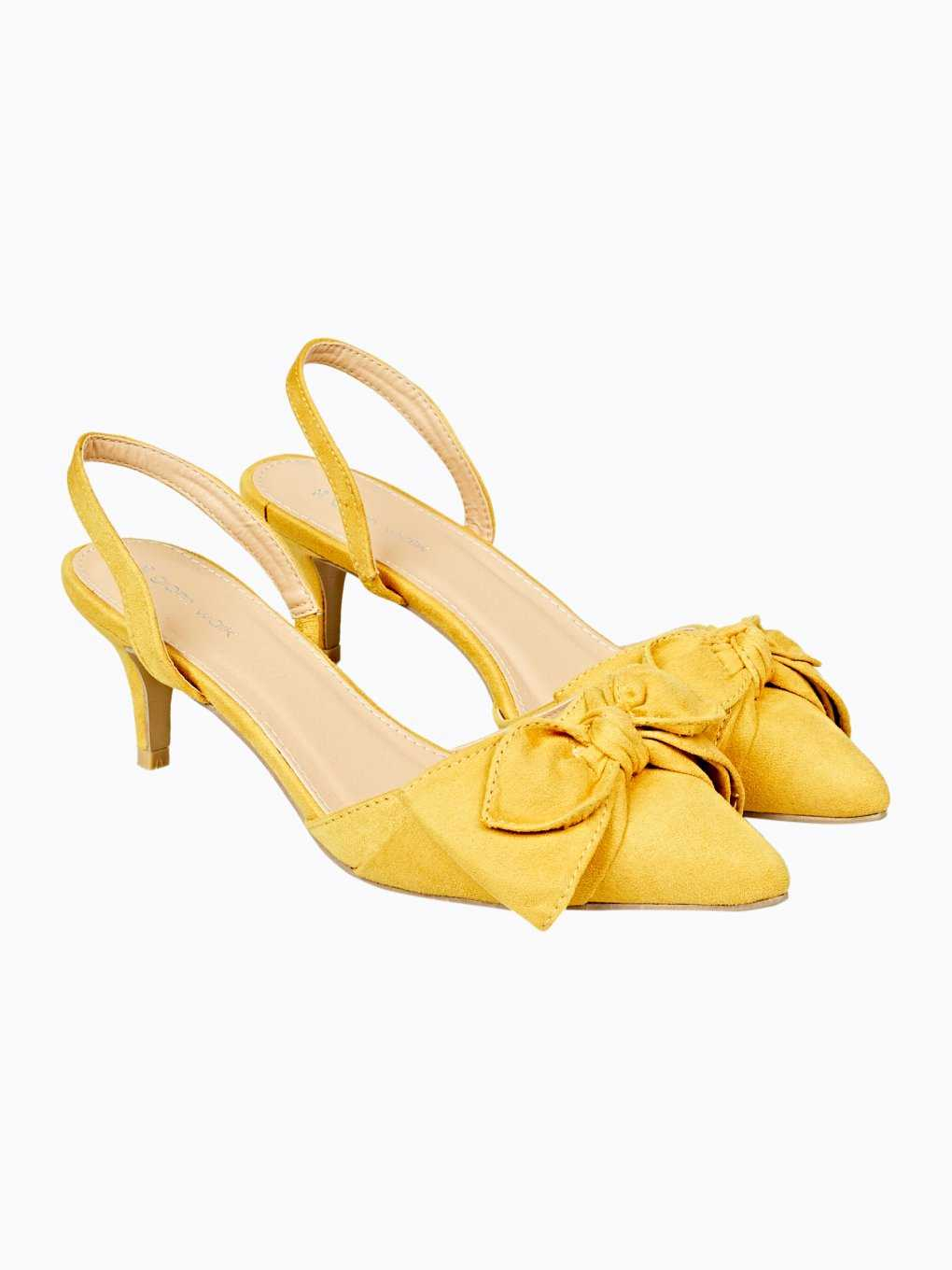Mid heel slingback shoes with bow