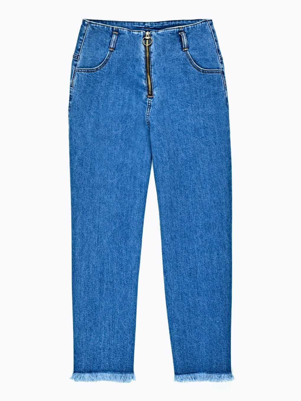 Wide leg frayed hem jeans