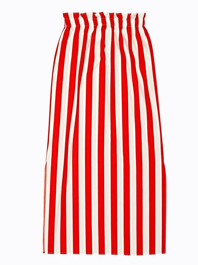 Długa spódnica w prążki z wysokim stanem