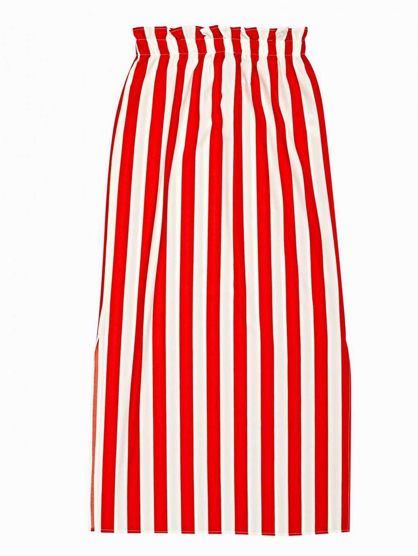 Proužkovaná dlouhá sukně s vysokým pasem