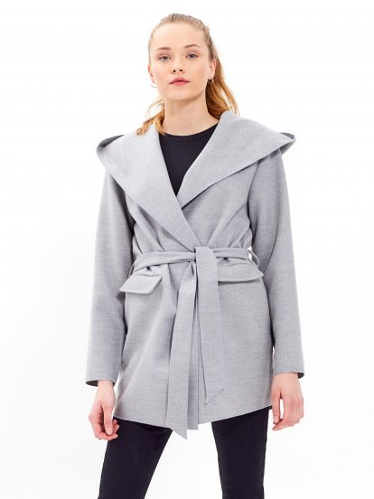 BELTED ROBE COAT WITH HOOD