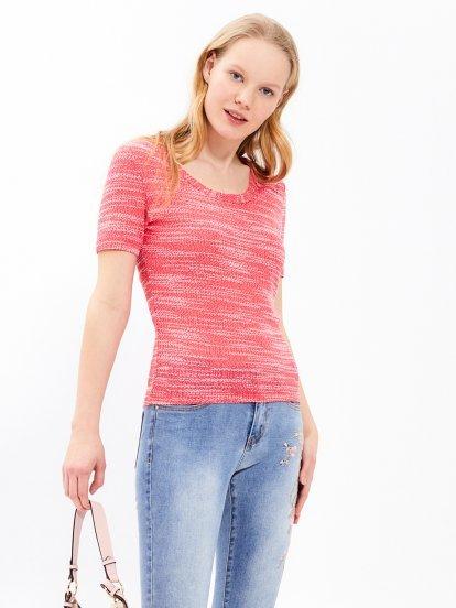 Marled short sleeve jumper