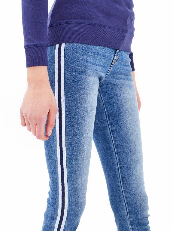 Jeansy skinny z prążkiem po bokach
