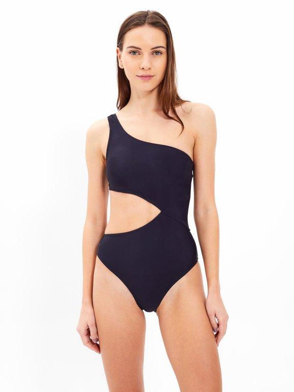 One-shoulder colour block swimsuit