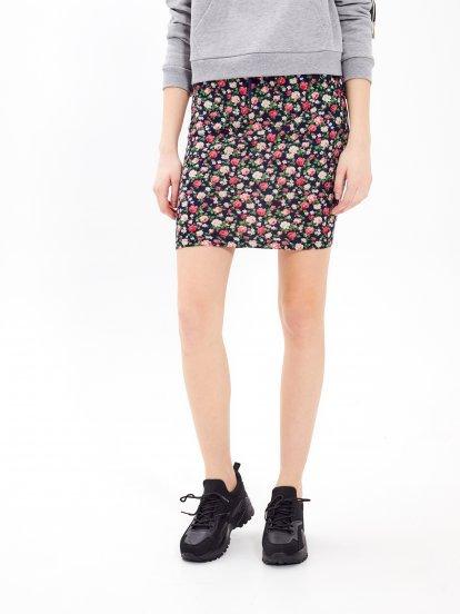 Floral print bodycon skirt