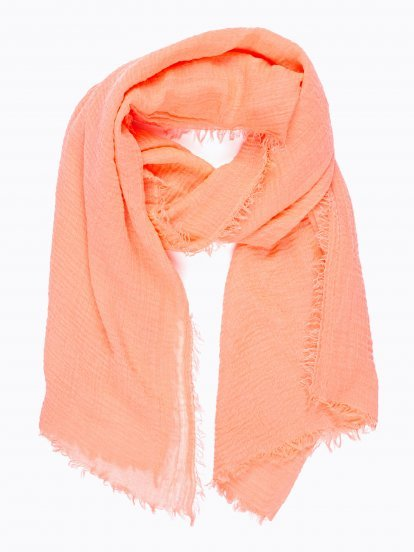 NEON PINK SCARF WITH SMALL TASSELS