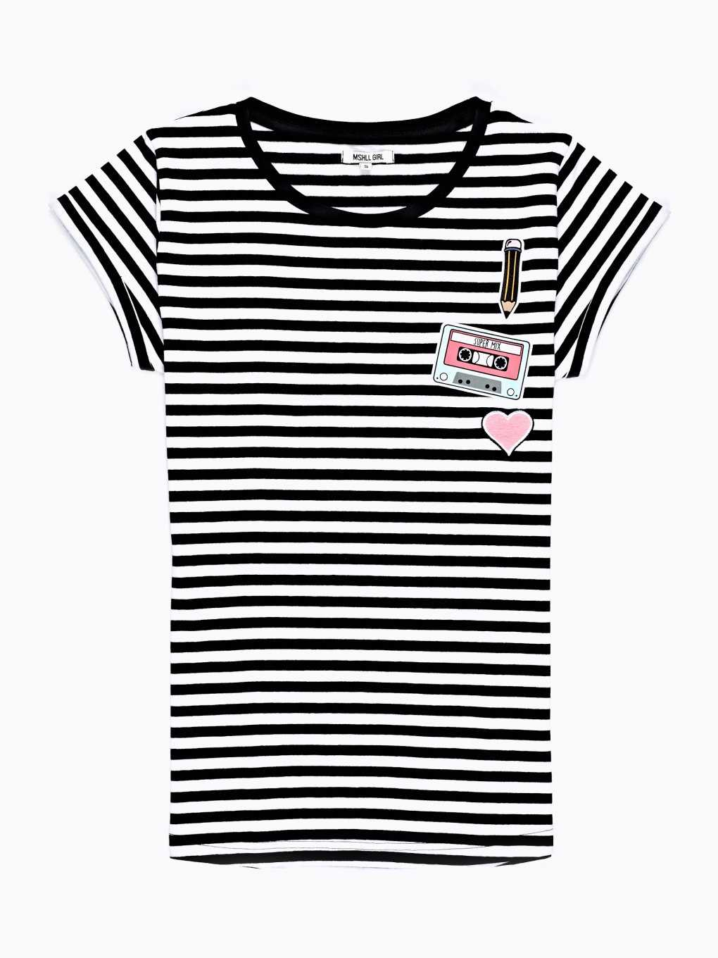 STRIPED T-SHIRT WITH PRINT AND PATCH