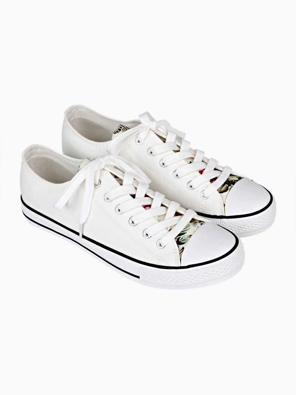 LACE-UP SNEAKERS WITH FLORAL TONGUE