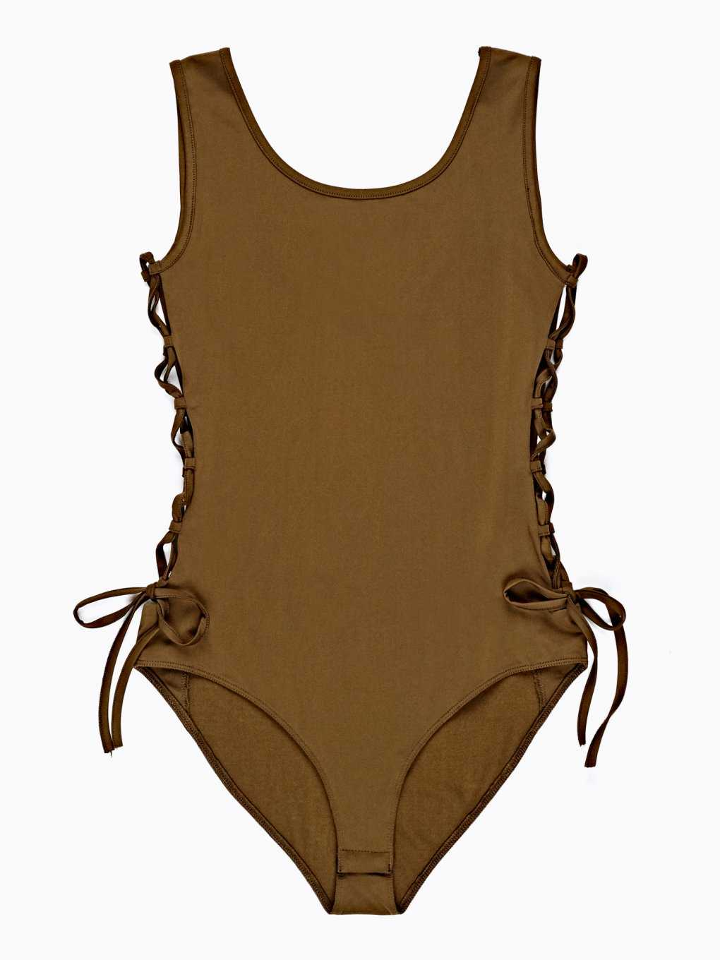 SLEEVELESS BODYSUIT WITH SIDE LACING