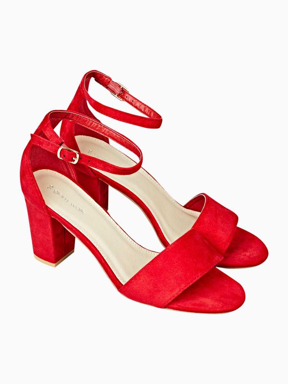Sandále z imitace semiše na širokém podpatku