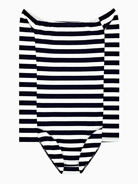 Off-the-shoulder striped bodysuit