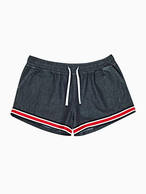 Taped denim shorts