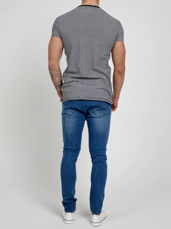 LONGLINE STRIPED T-SHIRT WITH PATCH