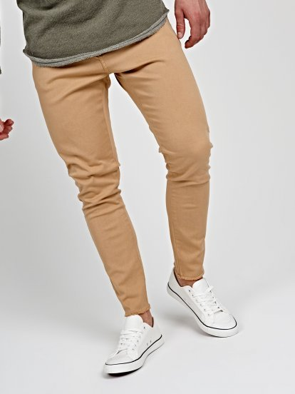 STRETCH CHINOS WITH RAW EDGES