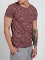 STRIPED T-SHIRT WITH RAW EDGES