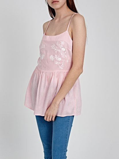 STRIPED TOP WITH EMBROIDERY