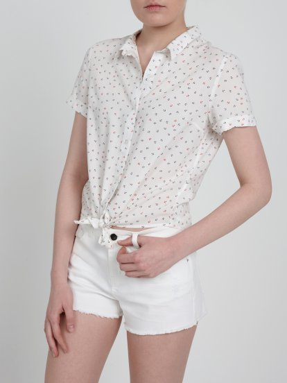 KNOT FRONT ANCHOR PRINT SHIRT