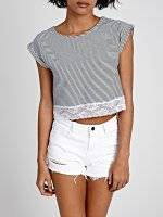 STRIPE CROP TOP WITH LACE DETAIL