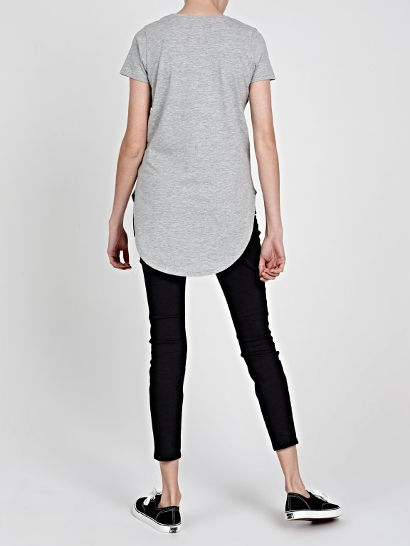 LONGLINE T-SHIRT WITH MESSAGE PRINT