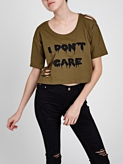 DISTRESSED CROP TOP WITH MESSAGE PRINT