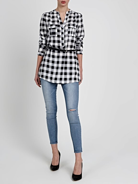 LONGLINE GINGHAM BLOUSE WITH BELT