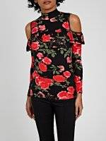 FLOWER PRINT COLD-SHOULDER RUFFLE TOP