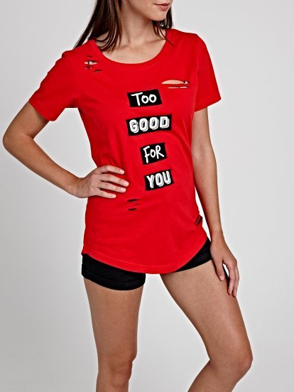 DISTRESSED T-SHIRT WITH MESSAGE PRINT PATCHES