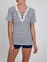 STRIPED OFF-THE-SHOULDER TOP WITH FRONT LACING
