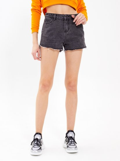 Denim shorts with raw edges