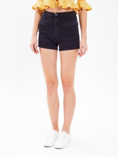 High waist slim fit denim shorts