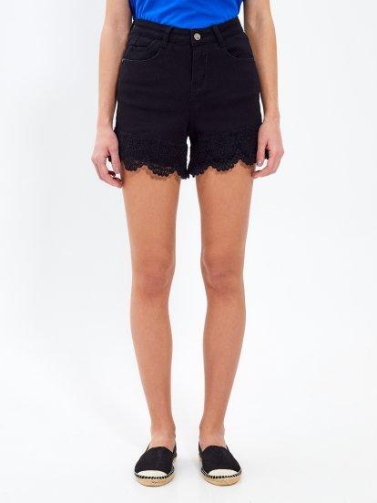 Denim shorts with crochet hem