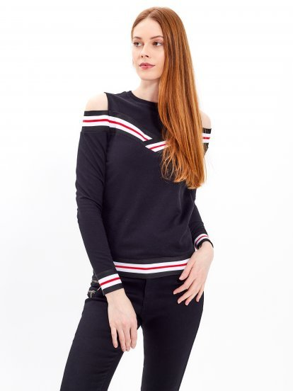Taped sweatshirt with cold shoulders