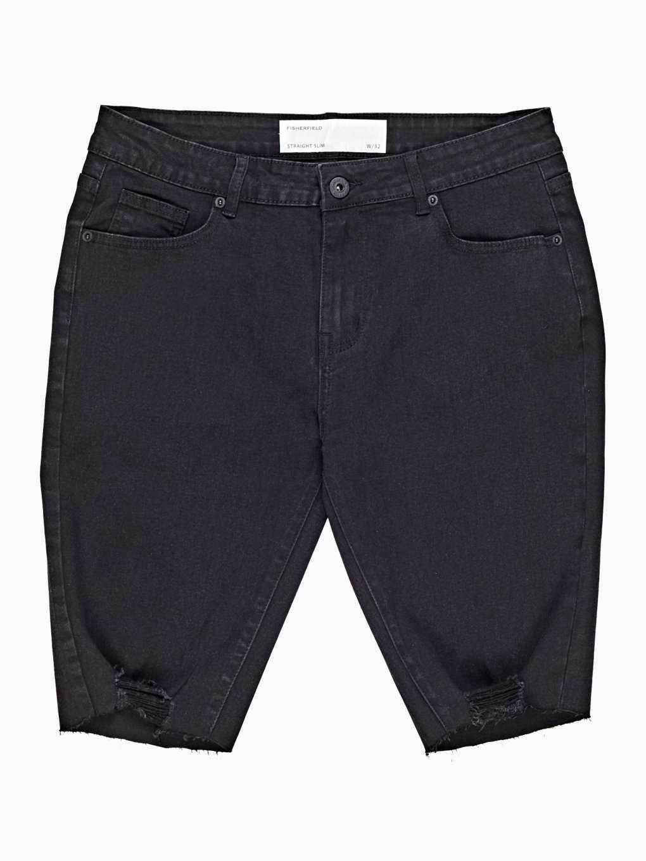 Slim fit raw edges denim shorts
